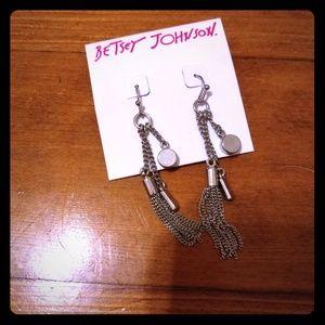 Betsey Johnson silver dangling earrings